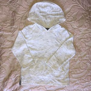 Cream hooded long sleeve tee